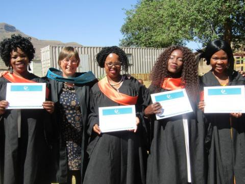 Our first 4 ECD teachers graduating after 2 years of training